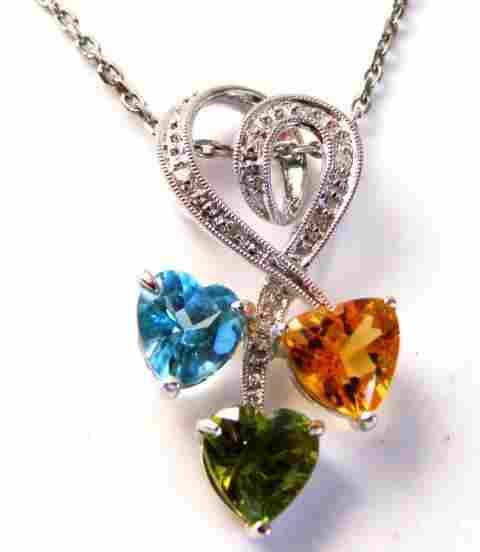 Multi Color Design Diamond Pendant:1.75Ct 14K W/G