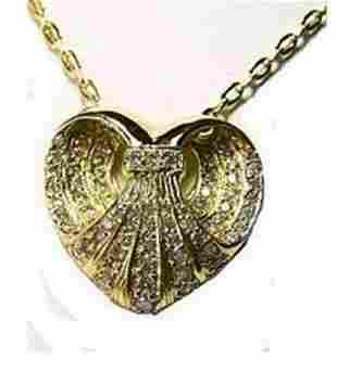 Heart Pendent Diamond 2.41Ct 14k Yellow Gold
