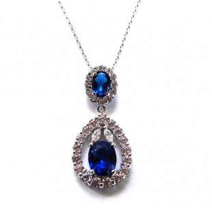 Creation Diamond/Blue Sapphire Pendant 5.88Ct 18k W/g