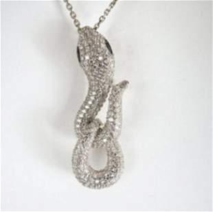 Creation Diamond Snake Pendant 3.28Ct 18k W/g Overlay