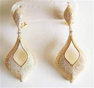 Creation Diamond Earrings 6.17ct 18k Y/g Overlay