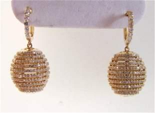 Creation Diamond Dangle Earring 2.45Ct 18kY/g Over