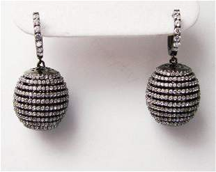 Creation Diamond Dangle Earring 2.45Ct 18k B/g Over