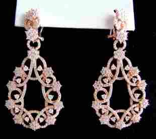 Creation Diamond Chandeliers Ear 5.14Ct 18k R/g Overlay