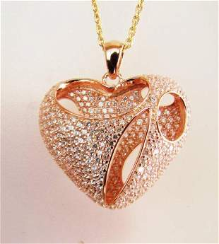 Creation Diamond Heart Pendant 2.40Ct 18k R/g Overlay