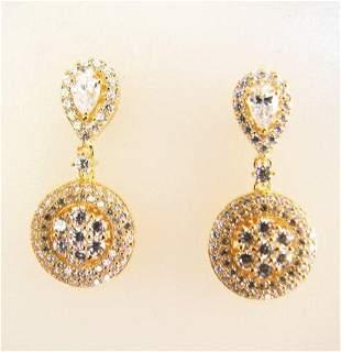 Ceartion Diamond Earrings 2.00Ct 18k Y/g Overlay