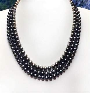 Triple-Strand Freshwater Pearl Strand Necklace
