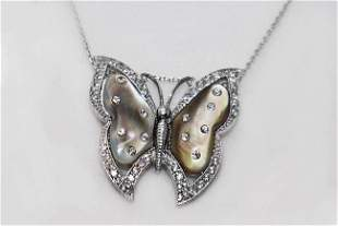 Creation, Diamond Necklace Butterfly Mother Pearl