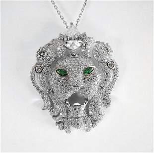 Creation Diamond Lion Pendant 5.70Ct 18k W/g Overlay