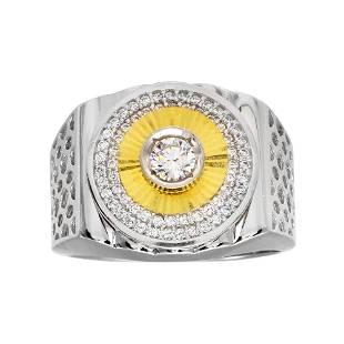 Man's Creation Diamond Ring Tow-Tone 18k Overlay 925