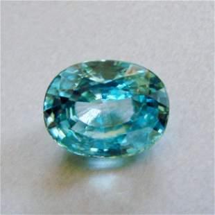 Natural Blue Zircon Oval Cut 8.92Ct 12.2x9.9x6.7 mm