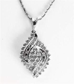 Diamond Unique Pendant: .55 Carat 10k W/g