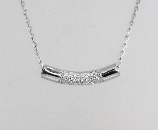 Bar Necklace Creation, Diamond .10 CT 18 K W/g Overlays