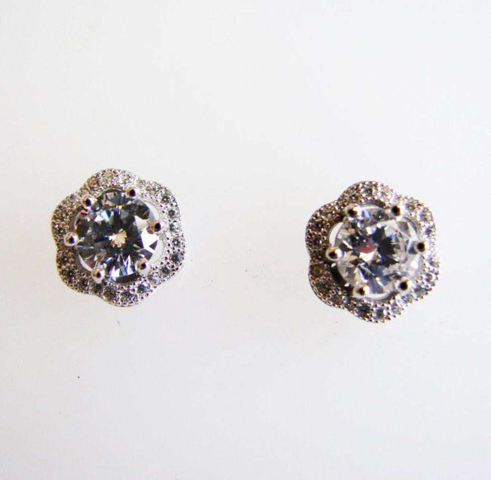 Creation Diamond Earrings Flower 2.32Ct 18k W/g Overlay