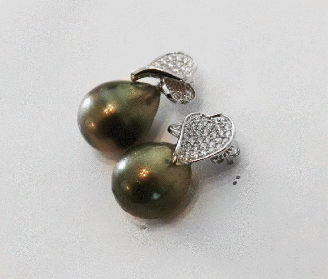Tahitian Pearl Earrings 18k W/g Gold Overlay