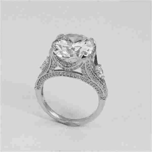 8.25 Ct Creation, Diamond Ring 18K W/G Overlay 925