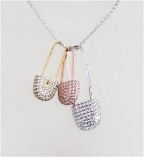 Pins Necklace 1.83 Carat 18k R/Y/W Overlay 925