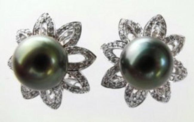 Tahitian Pearl 11 mm Diamond Earrings 2.88Ct 18k W/g