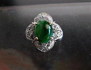 Anniversary Ring Imperial Jade/Diamond 3.40Ct 14k Y/W
