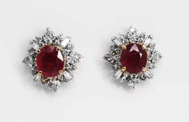 Natural Ruby Diamond Earrings: 9.24Ct 14K Y/G