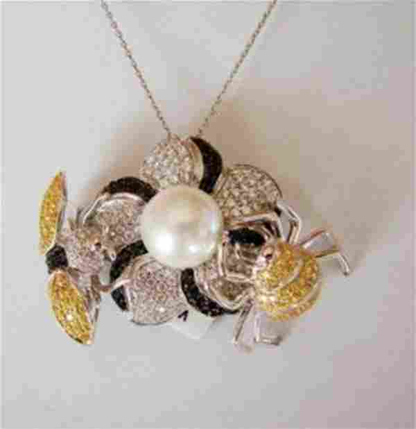 Natural Culture Pearl Creation Diamond 9.21Ct 18k W/g