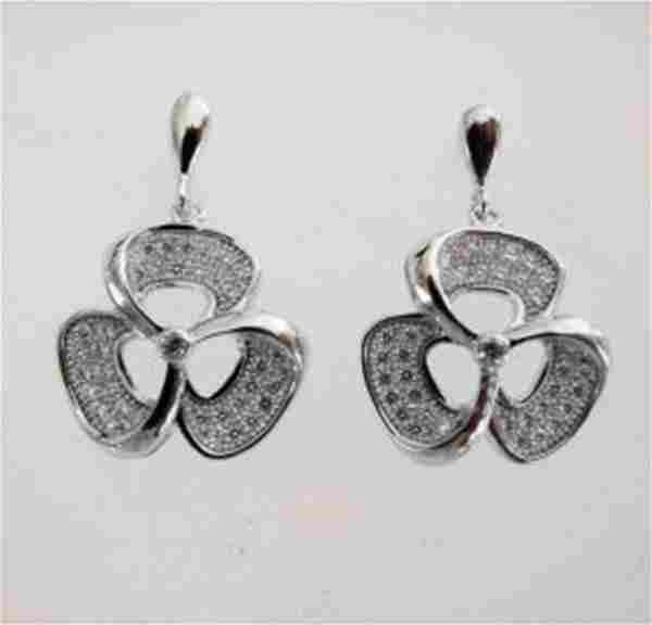 Creation Diamond Flower Earrings .87Ct 18k W/g Overlay