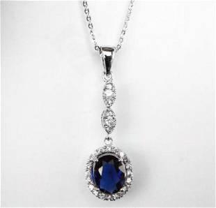 Creation Diamond/Blue Sapphire Pendant 1.93Ct 18k W/g