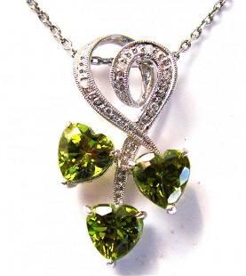 Peridot Diamond Heart Pendant: 2.77Ct 14K W/g