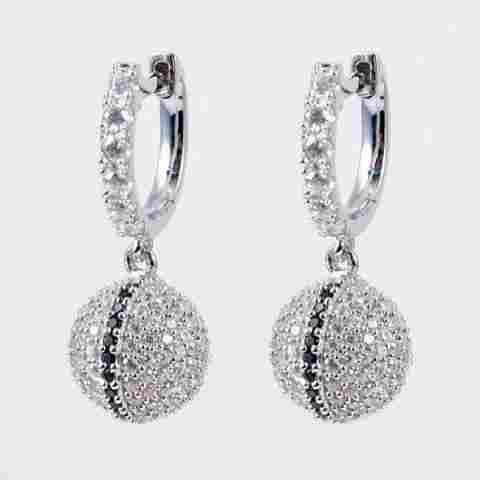 Creation Diamond Ball Earrings 2.25Ct 18k W/g Overlay