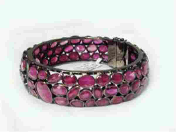 Natural Gems Ruby Bangle 110.67Carat 18k B/g Overlay