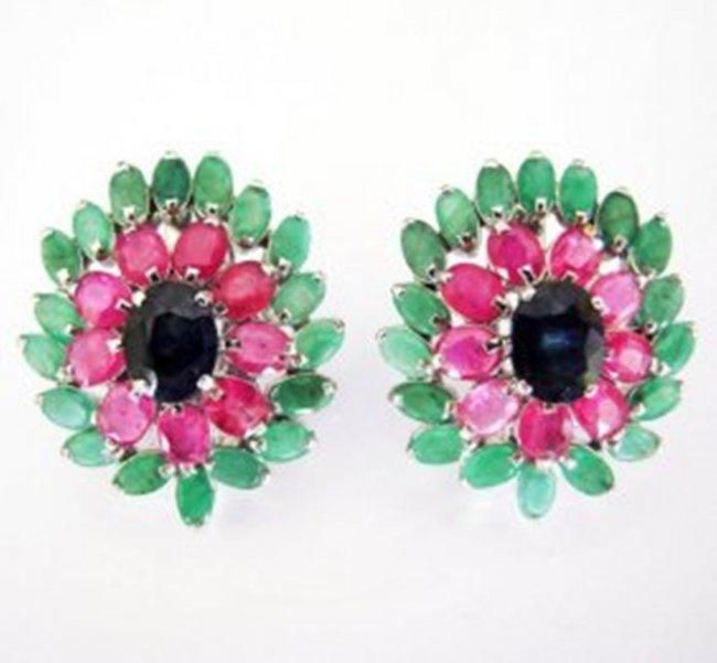 Natural Multicolor Earring 25.34Ct 18k W/g Overlay