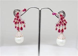 Creation Dia/ Ruby/Swarovski Pearl Chandelier Earrings