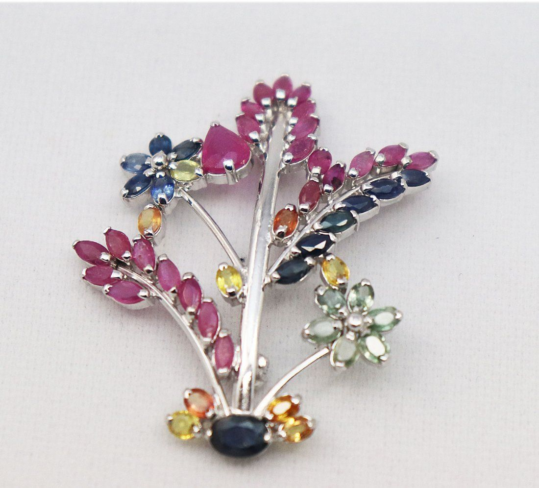 Natural Sapphire Multi-Color Brooch 3.56 Carat W/G Over