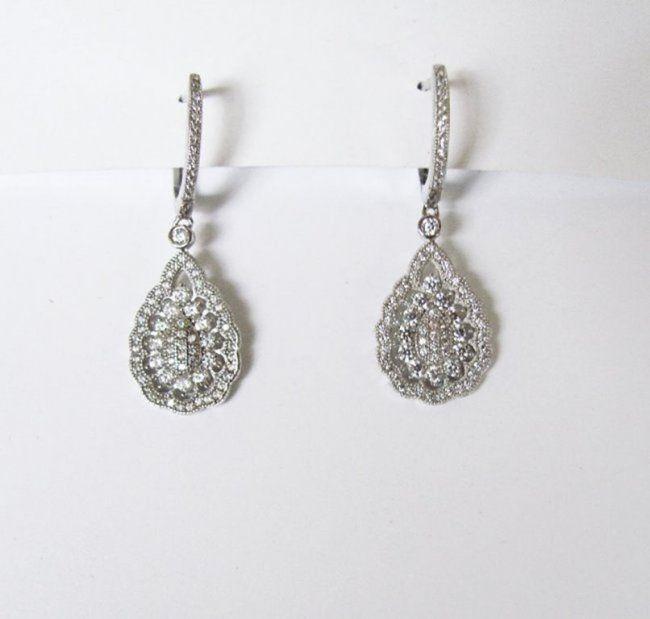 Creation Diamond Earrings 1.06Ct 18k W/g Overlay