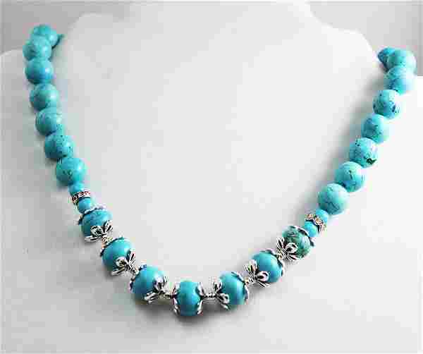 Natural Turquoise Necklace 11.5mm Sterling Steel Dived