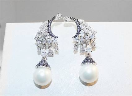 Creation Dia/ Swarovski Pearl /Blue Sapphire Earrings