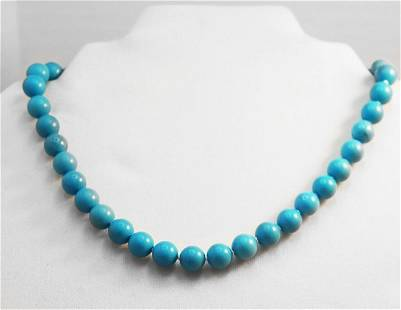 Natural Turquoise Necklace 8mm 925 Fish Pearl
