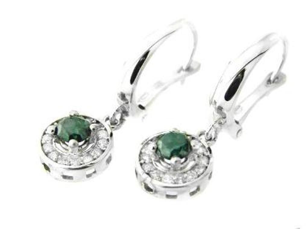 2: Green & White Diamond Earrings Dangle 1.16 carat 14k