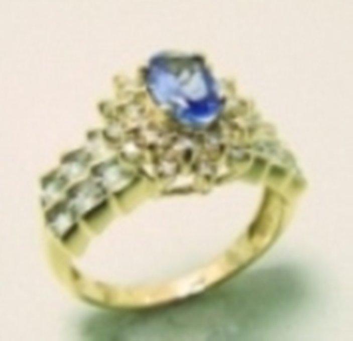 10: Tanzanite Ring: 1.80 Ct & Diamond: .80CT 14k Yellow