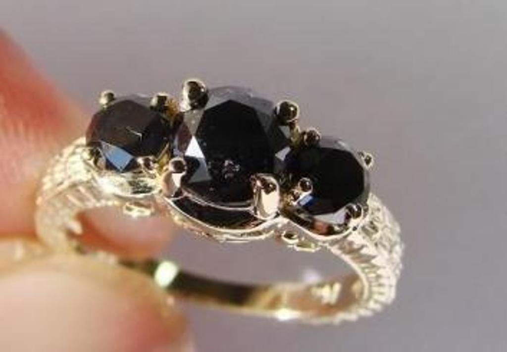 17: Black Diamond Ring 1.87 Carat 14K Yellow Gold