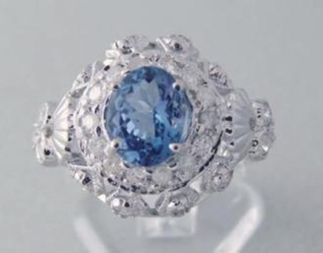 23: Tanzanite & Diamond Ring 2.73 Carat 14k W/G With Wh