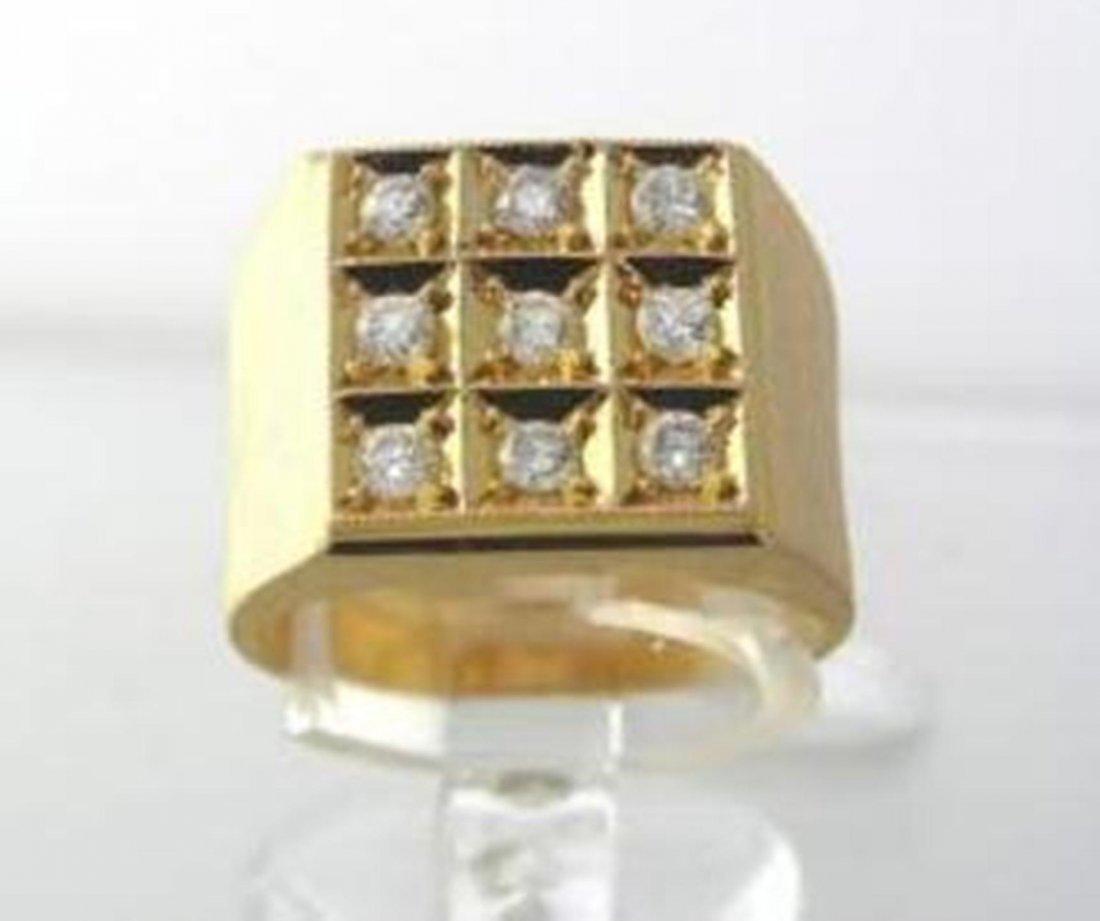 183: Men's Diamond Ring 1.00 Carat 14k Yellow Gold