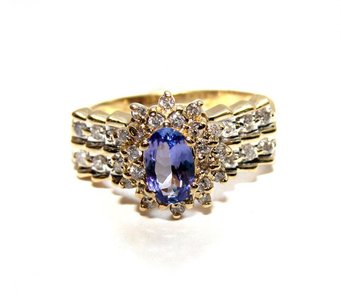 187: Tanzanite Ring: 1.80 Ct & Diamond: .80CT 14k Yello