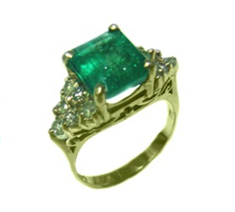 191: Emerald Ring 1.95 carat Diamond: .61 carat 14k Yel