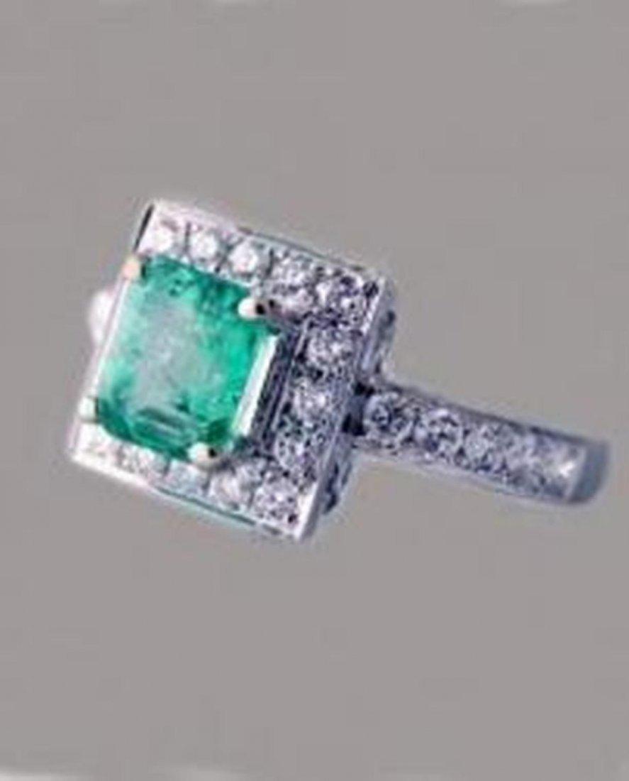 192: Emerald Ring 1.41 carat Diamond: .68 carat 14k W/g