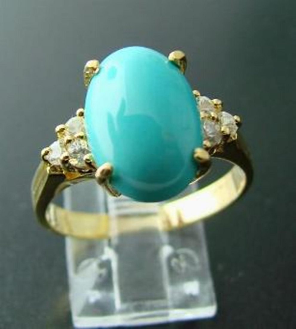 195:Turquoise Ring 3.39Ct  White Sapphire .18Ct 14k Y/g