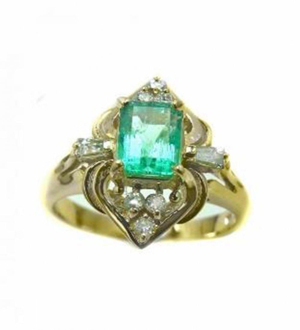 198: Emerald Ring .79 Ct Diamond .23 Ct 14k Y/g