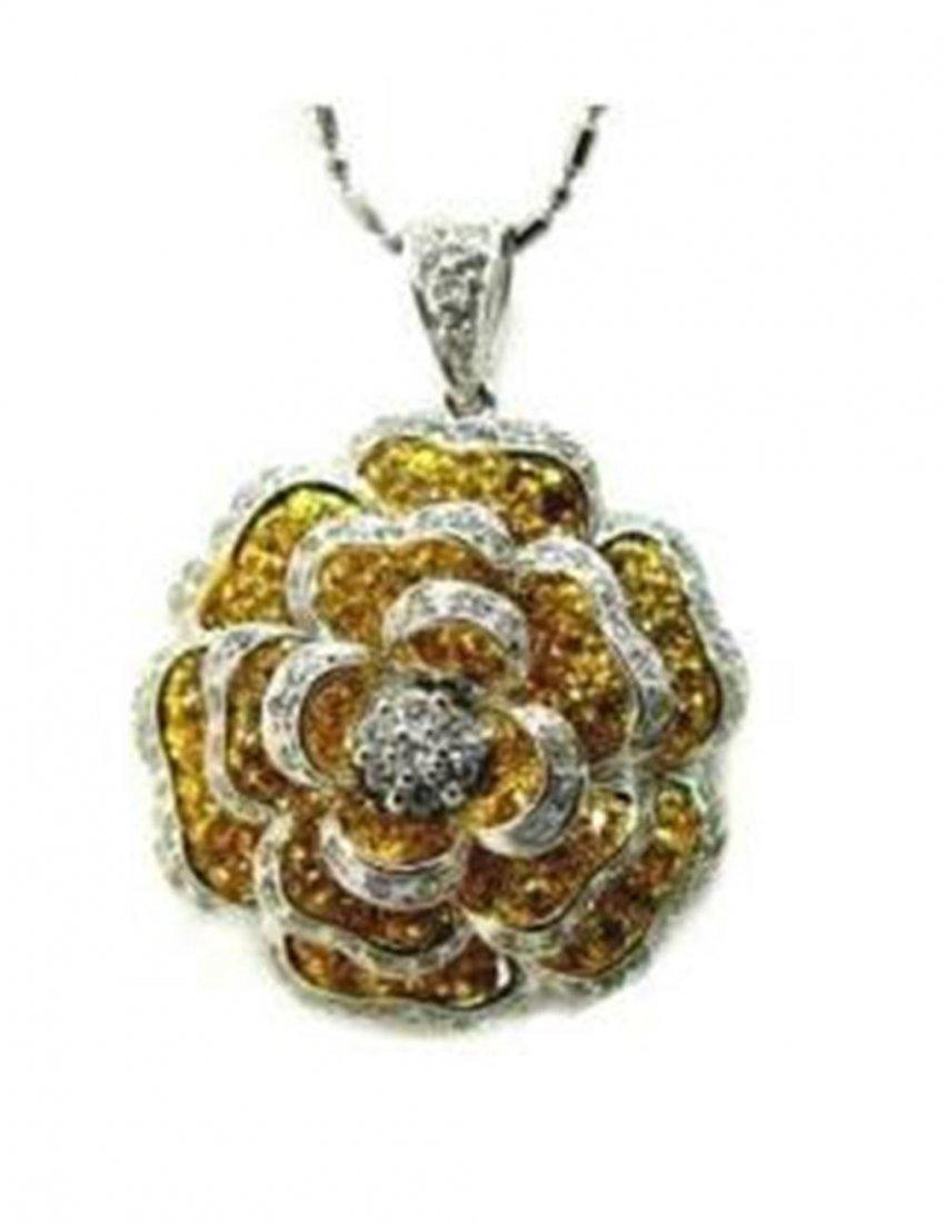 199:Rose Design Yellow Sapphire 1.25Ct D:1.10Ct 18k W/g