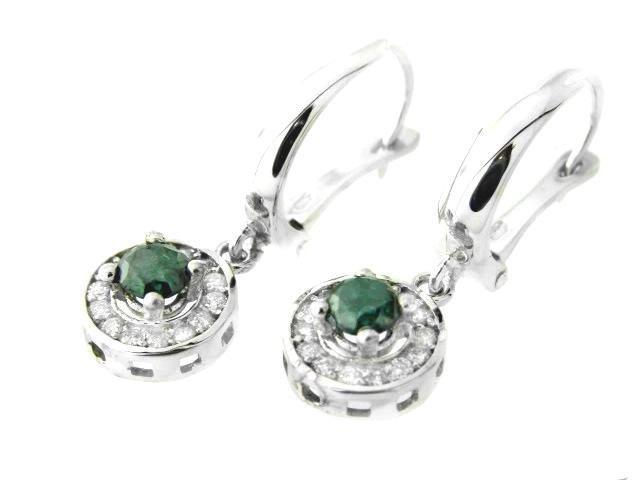 373: Green & White Dia: Earrings Dangle 1.16 Ct 14k W/G