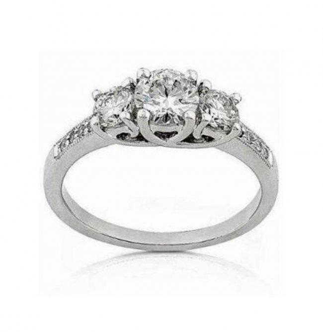 378: Present Past Future Diamond Ring1.53CT 14K W/g
